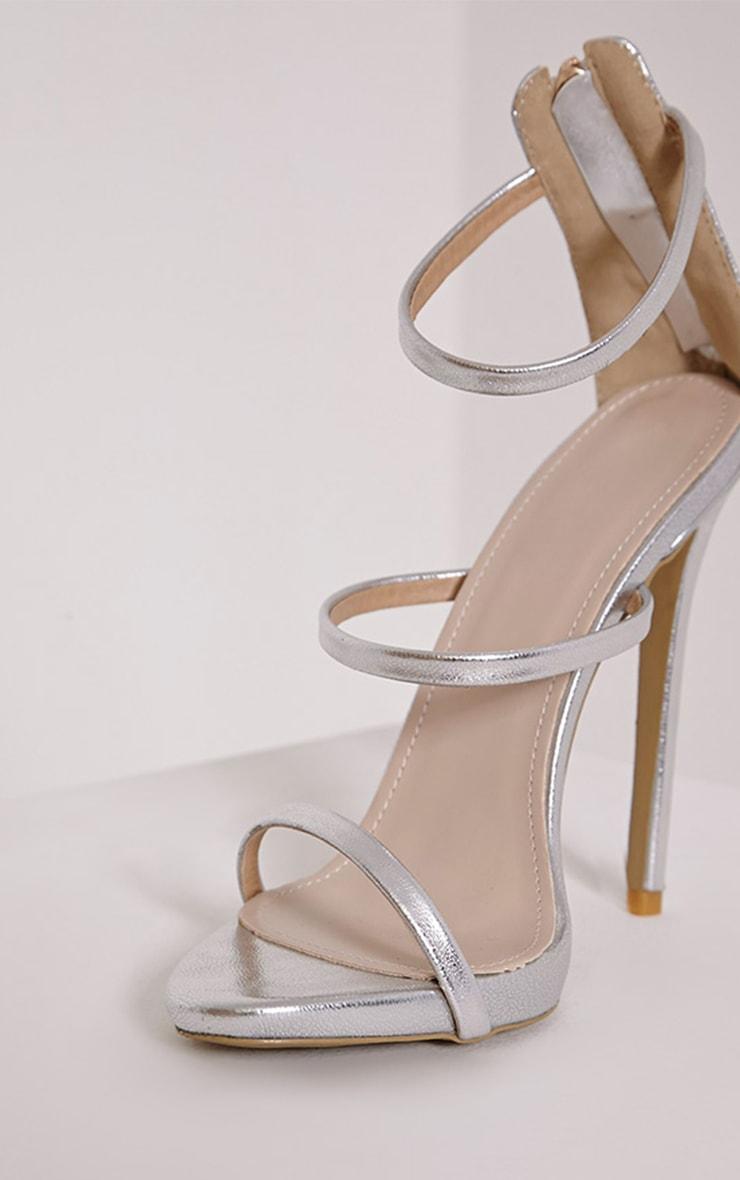 Asara Silver Metallic Heeled Sandals 6