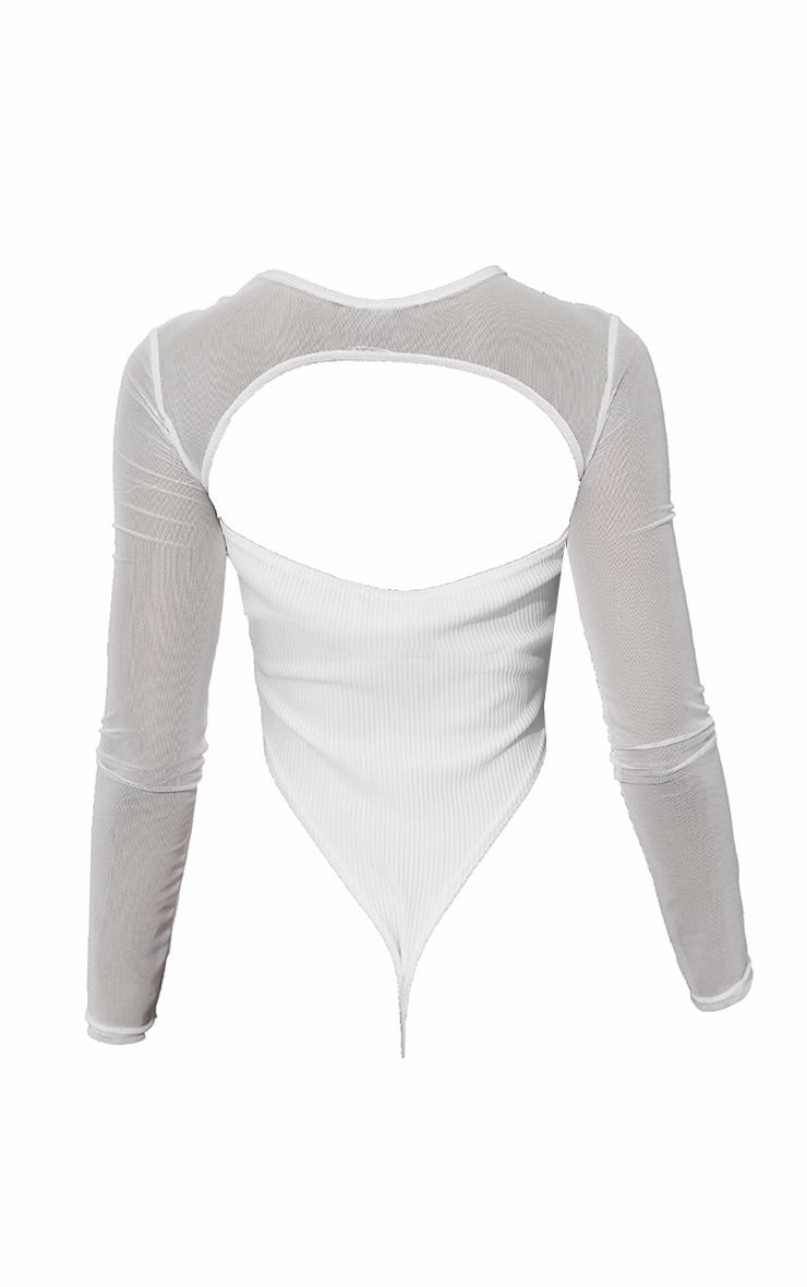 White Mesh Overlay Rib Bodysuit 6