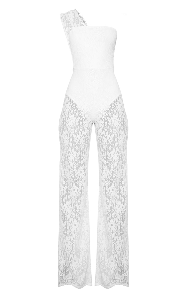 White Lace Drape One Shoulder Jumpsuit 3