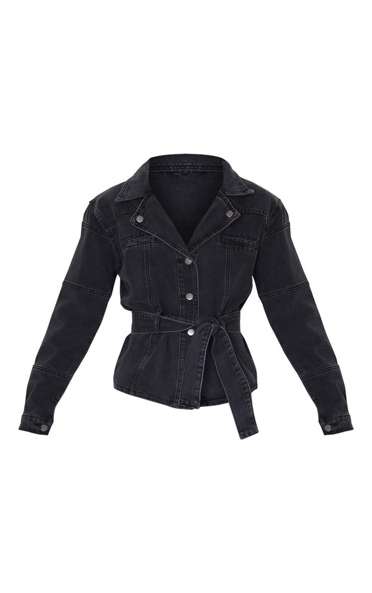 Washed Black Biker Tie Waist Denim Jacket 5