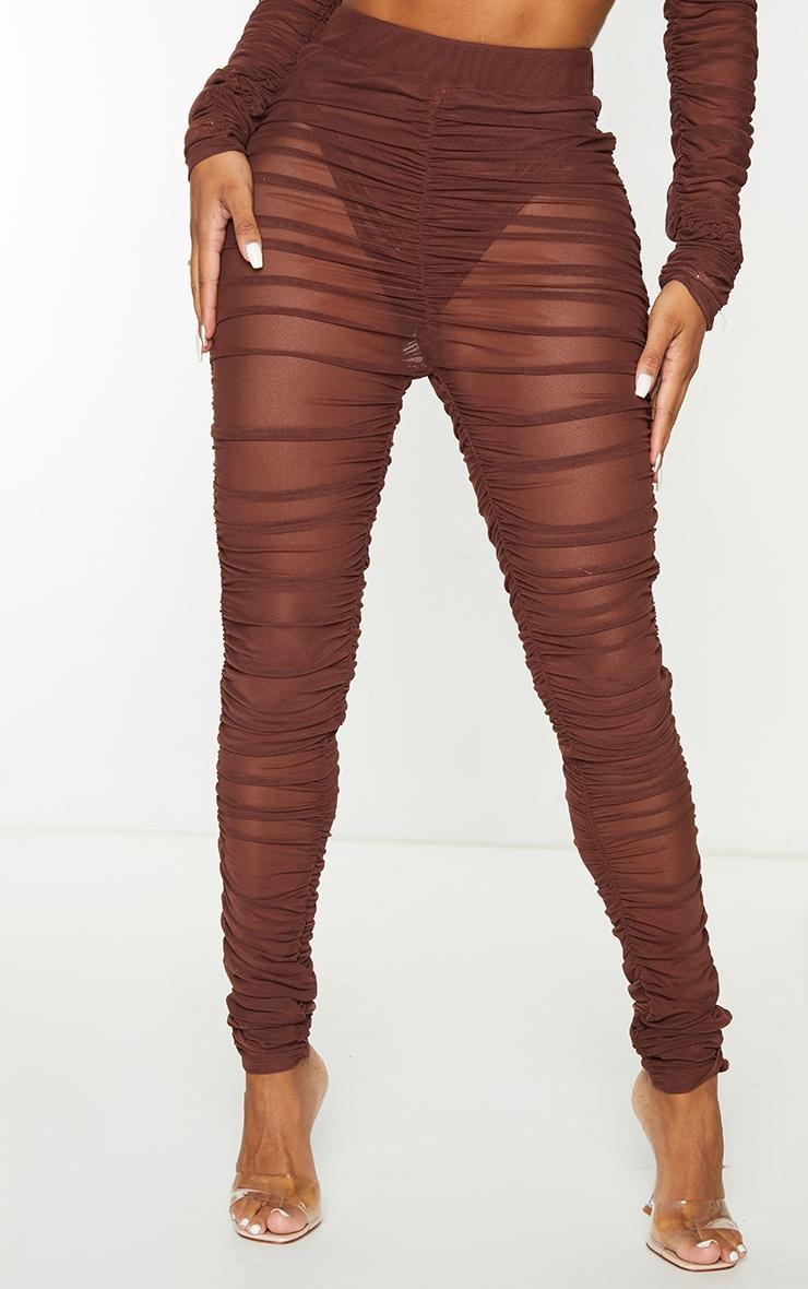 Shape Chocolate Brown Mesh Ruched Leggings 2