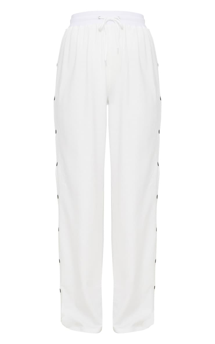 White Contrast Popper Joggers 3