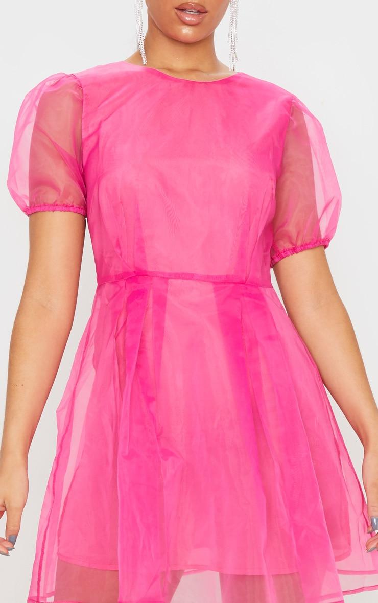 Hot Pink Organza Puff Sleeve Skater Dress 5