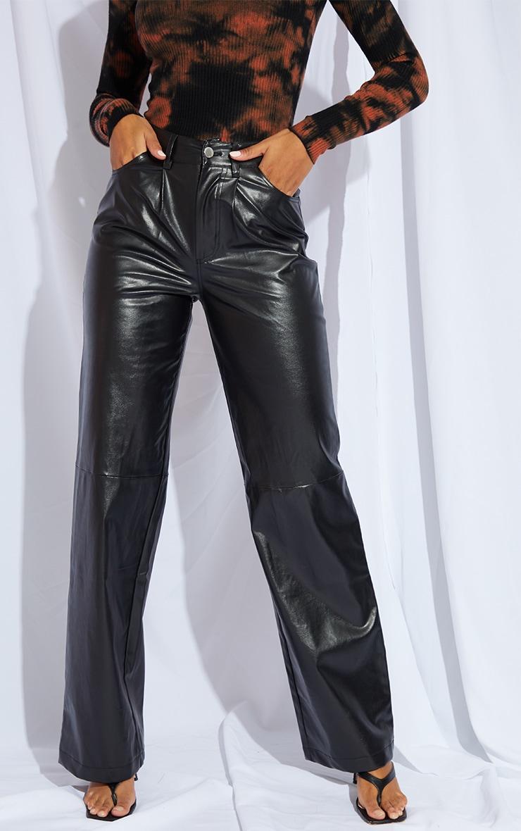 Black Faux Leather Pleat Detail Wide Leg Trousers 2