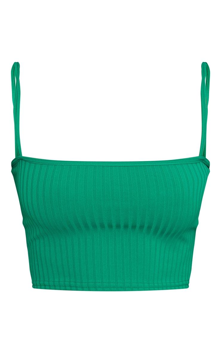 Green Basic Rib Square Neck Strappy Crop Top 5