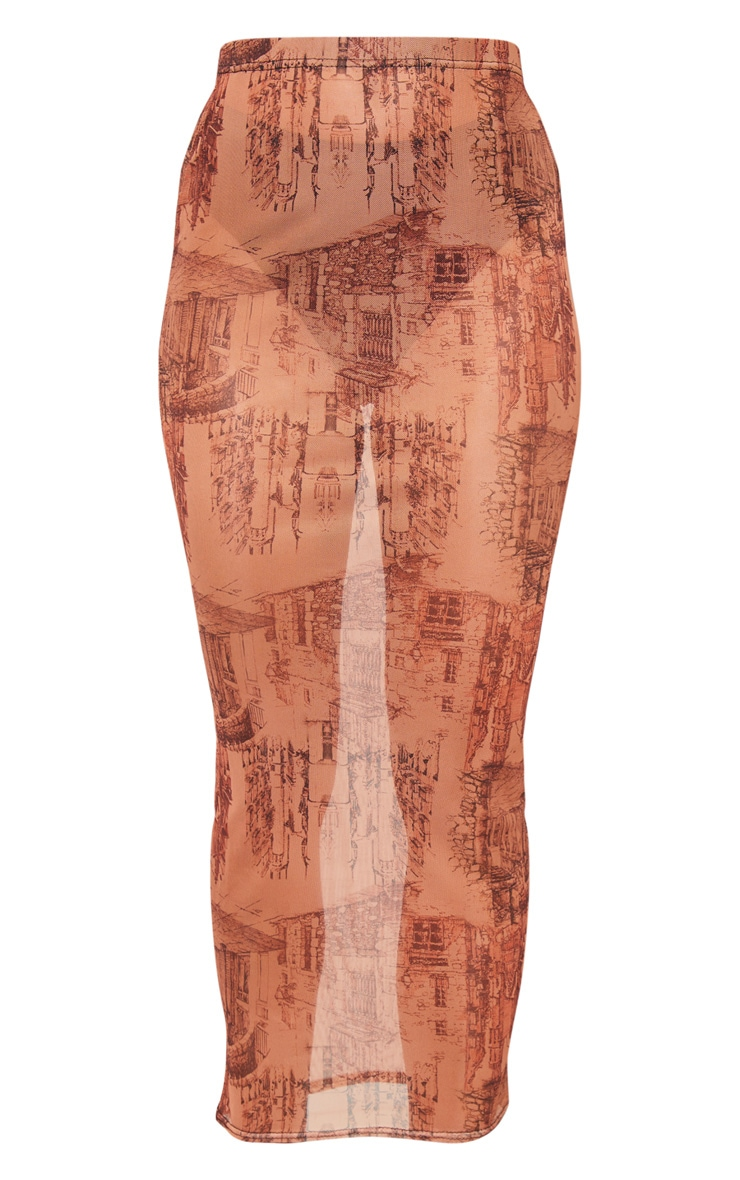 Rust Sketch Print Mesh Midaxi Skirt 3
