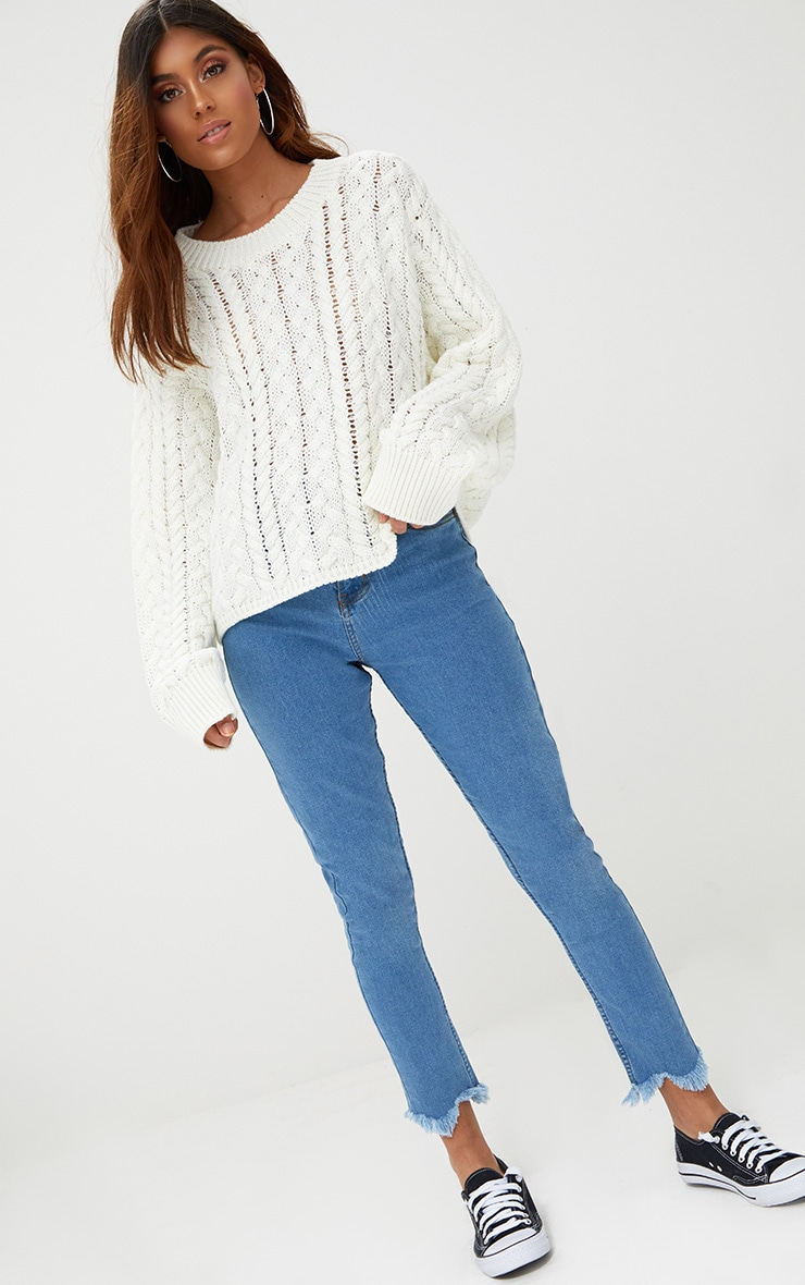Cream Chunky Cable Knit Jumper 3