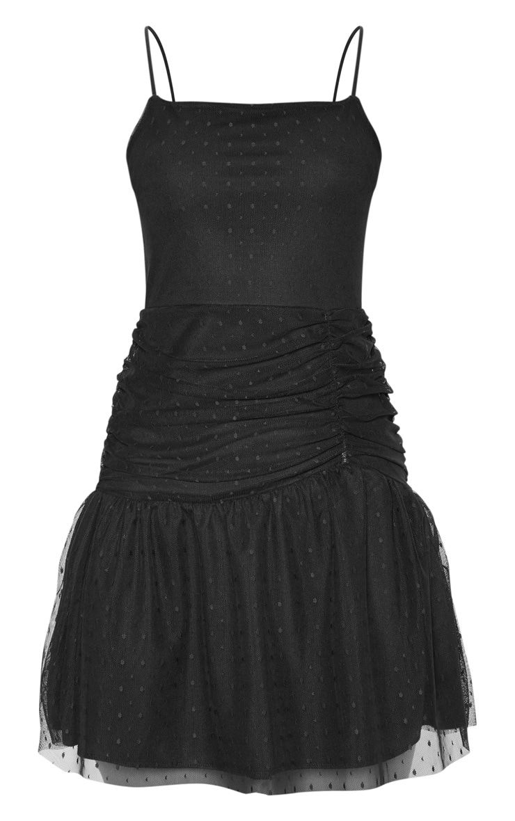 Black Dobby Mesh Strappy Skater Dress 3