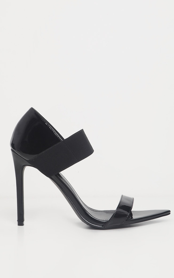 Black Patent Point Toe Elastic Sandal  4