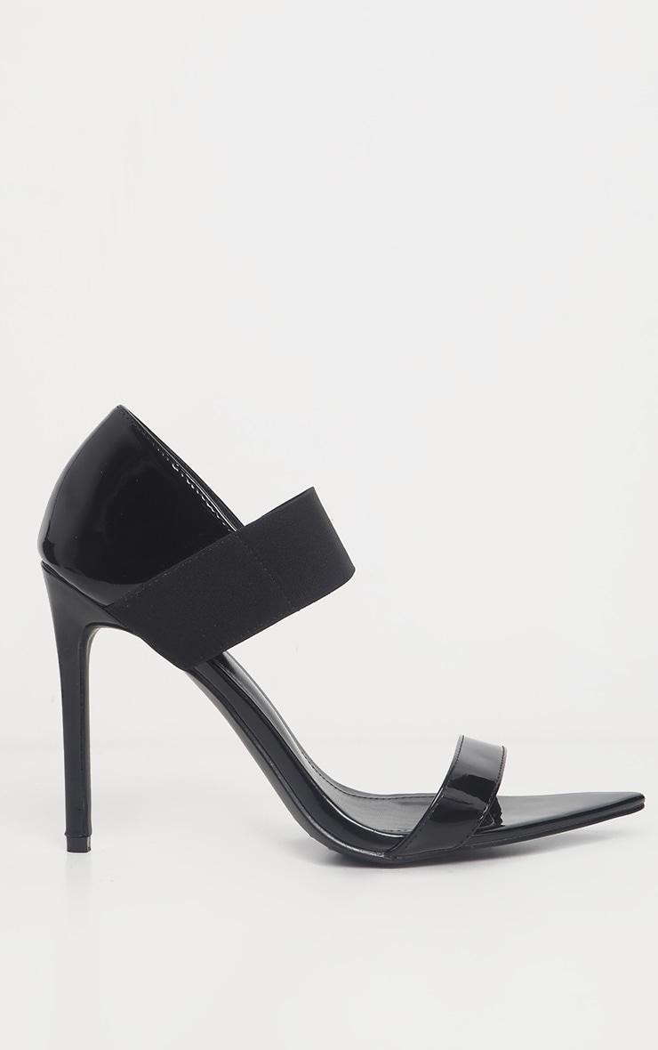 Black Patent Point Toe Elastic Sandal 4