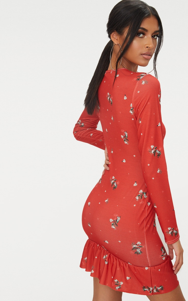 Red Floral Jersey Long Sleeve Frill Dress 2