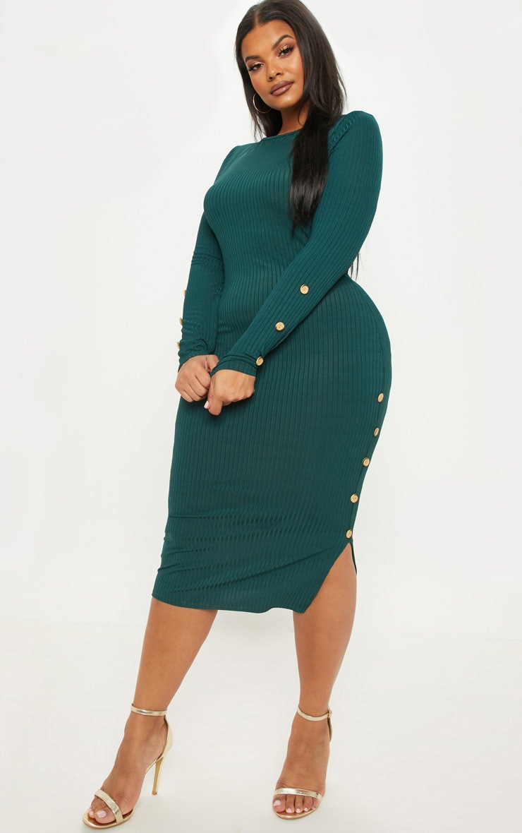Plus Emerald Green Ribbed Tortoise Button Detail Midi Dress 1