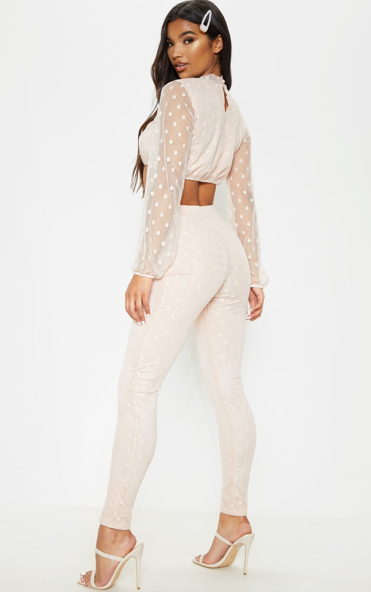 Nude Polka Dot Mesh Top & Pants Set 2