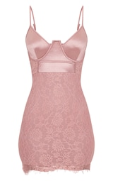 df63278ac5 Dusty Pink Satin Top Bustier Lace Bodycon Dress image 3