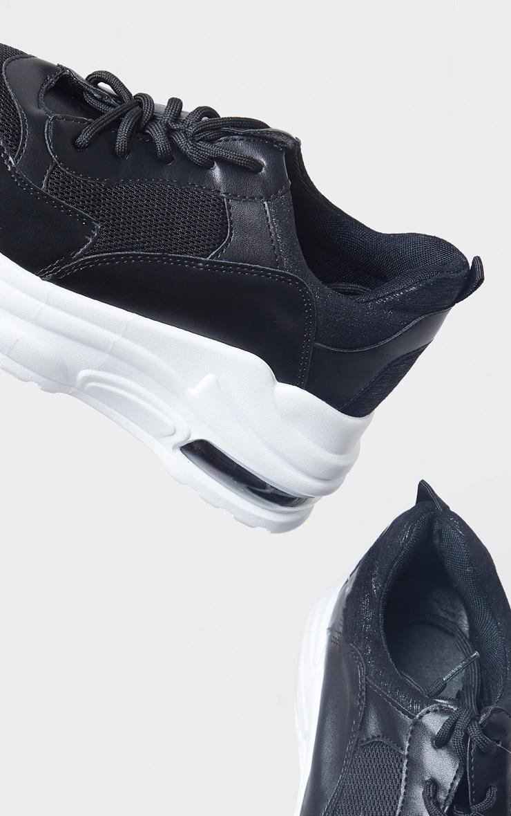 Black Bubble Panel Sole Lace Up Sneaker 4