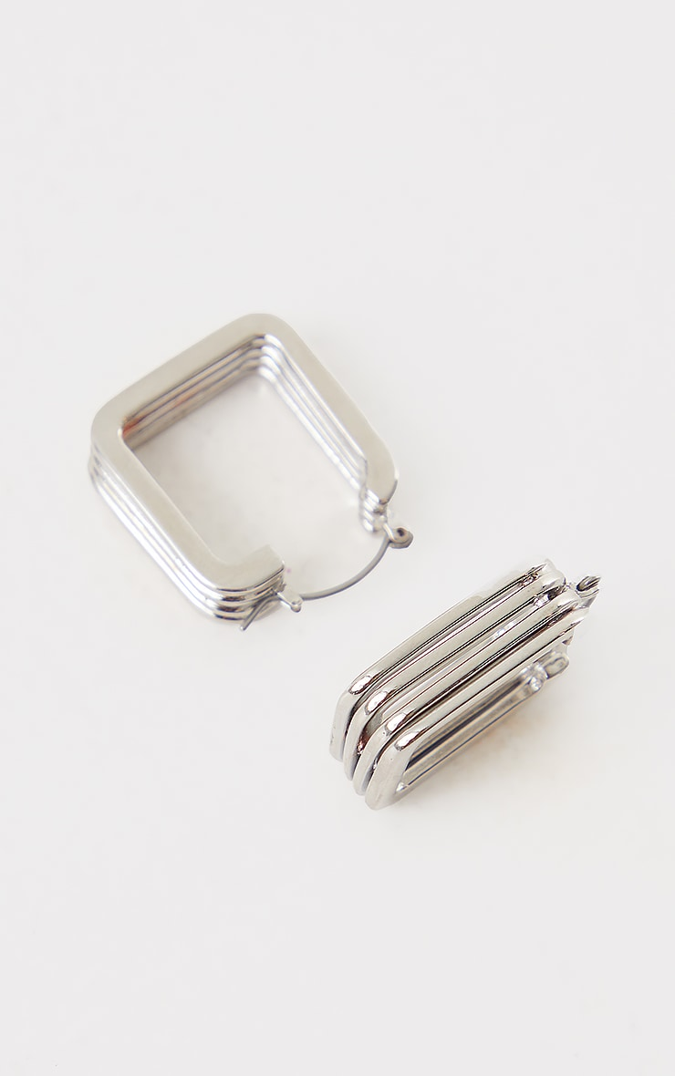 Silver Chunky Ribbed Square Hoop Earrings 3