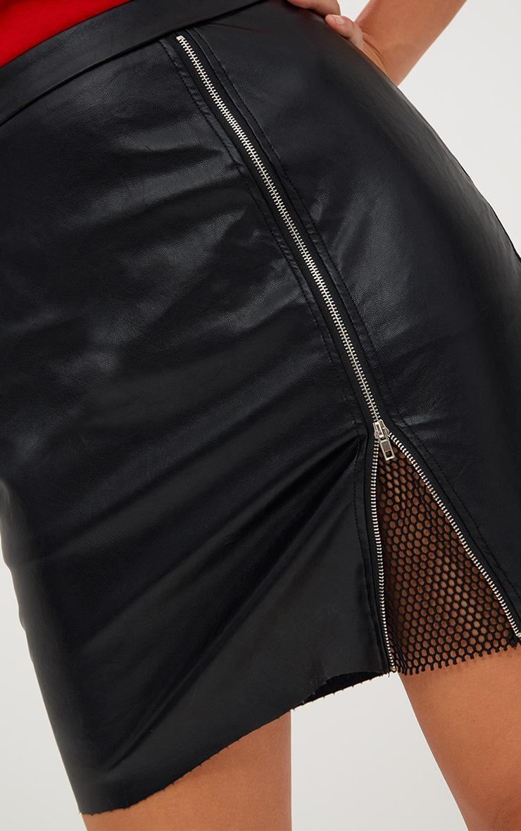 Black Fishnet Zip Split PU Mini Skirt 6