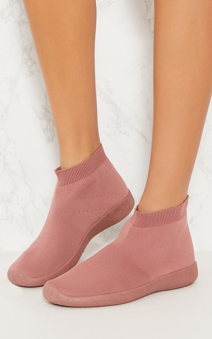 Dusty Pink Knit Sock Trainers 2