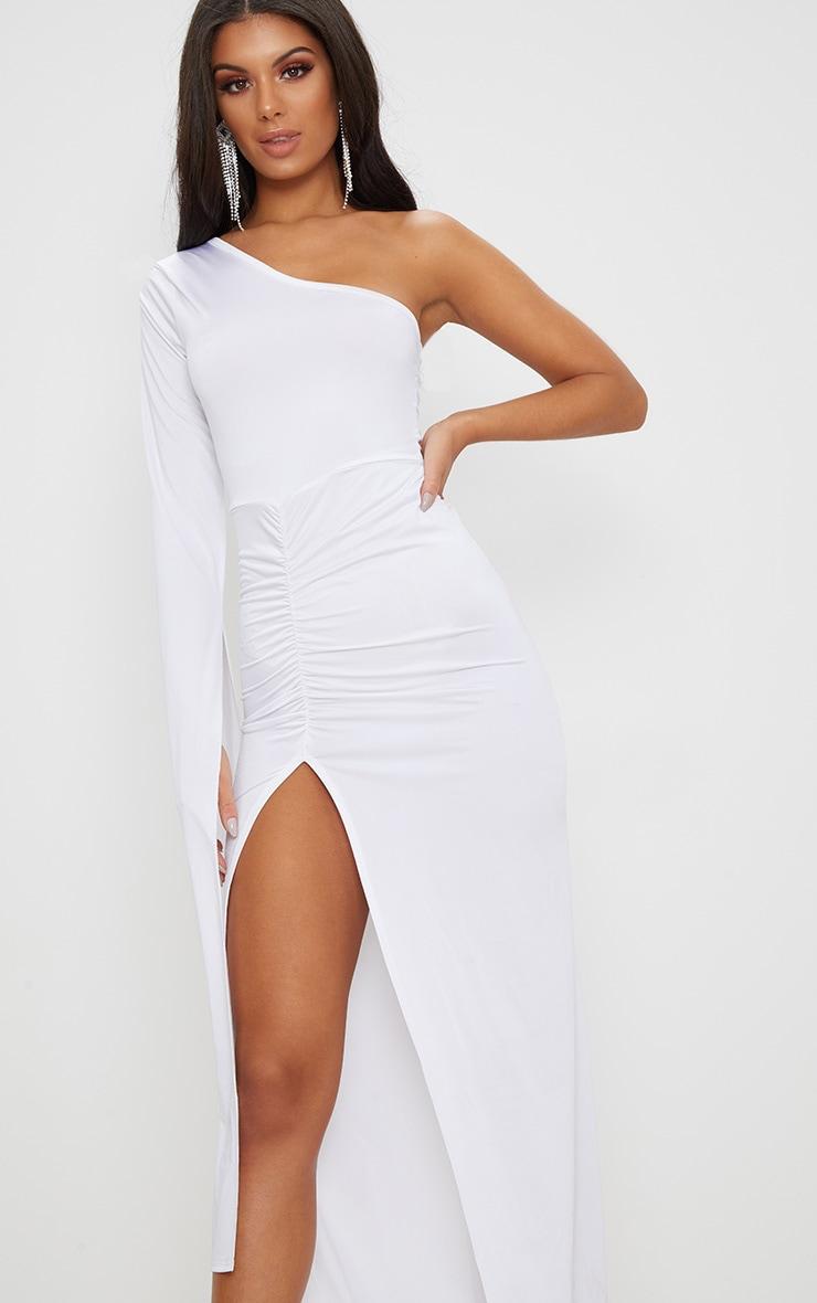 White Slinky One Sleeve Split Detail Maxi Dress 5