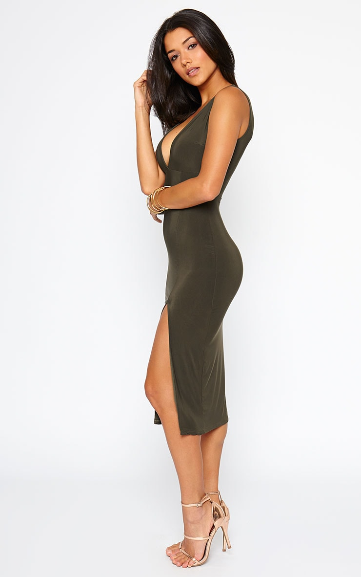 Christa Khaki Sleeveless Plunge Split Front Dress 3