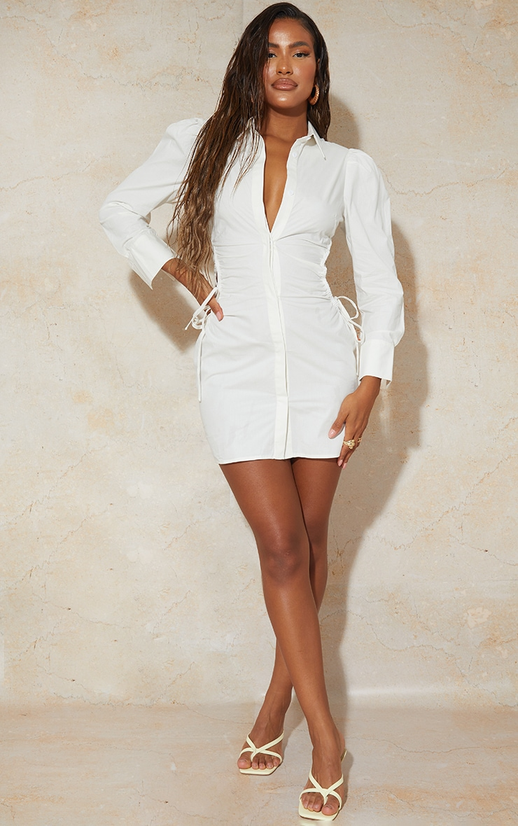 White Ruched Side Lace Up Detail Shirt Dress 3