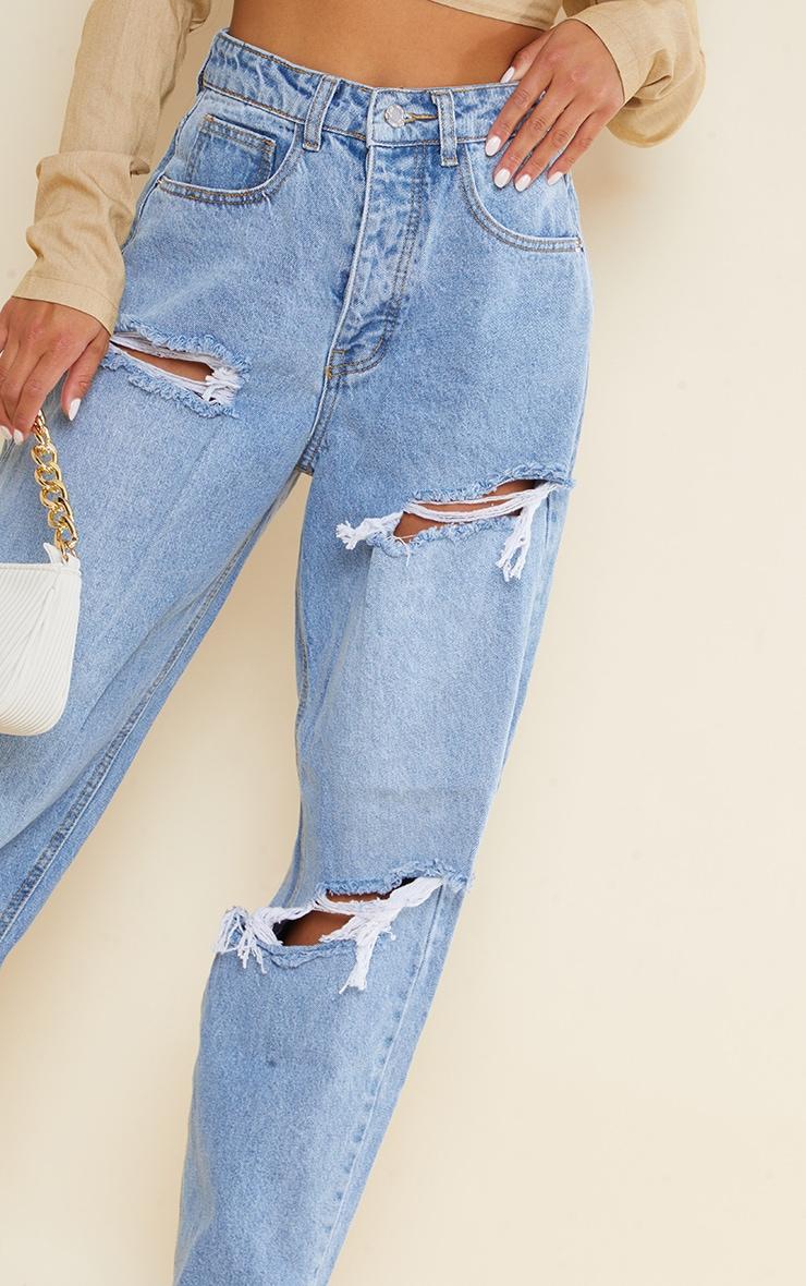 PRETTYLITTLETHING Petite Light Blue Wash Open Knee Boyfriend Jeans 4