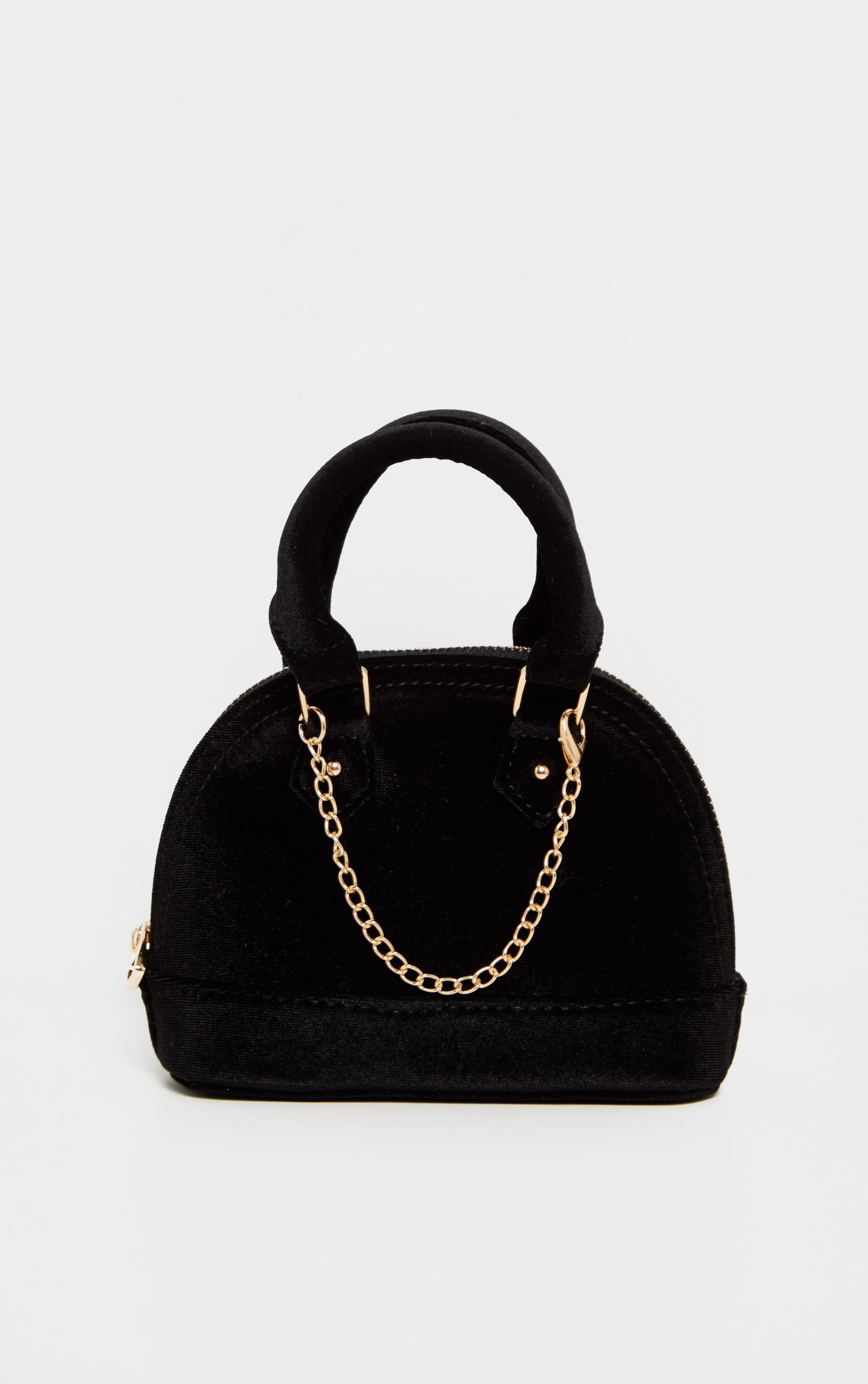Black Velvet Chain Trim Mini Bag 2