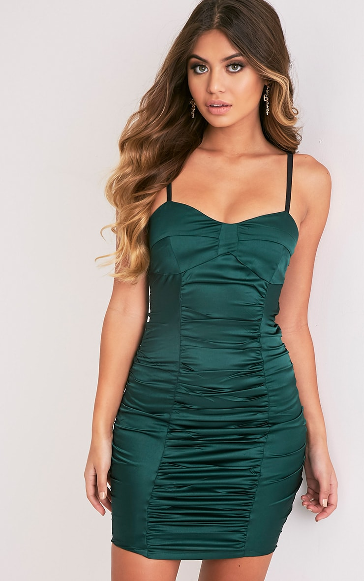 Lauriana Emerald Green Satin Strappy Ruched Bodycon Dress 1
