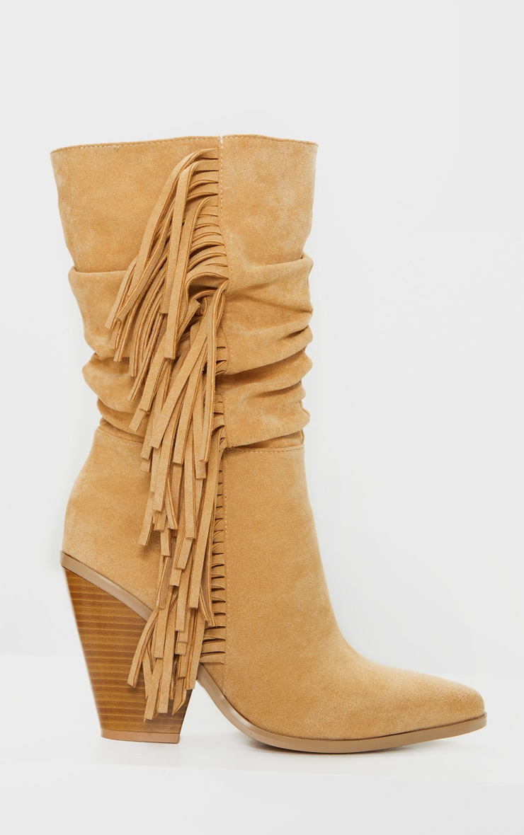 Tan Fringe Western Heel Ankle Boots 3