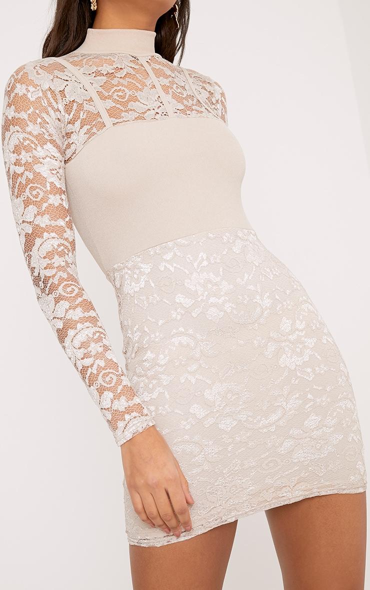 Emelia Nude High Neck Lace Bodycon Dress 5
