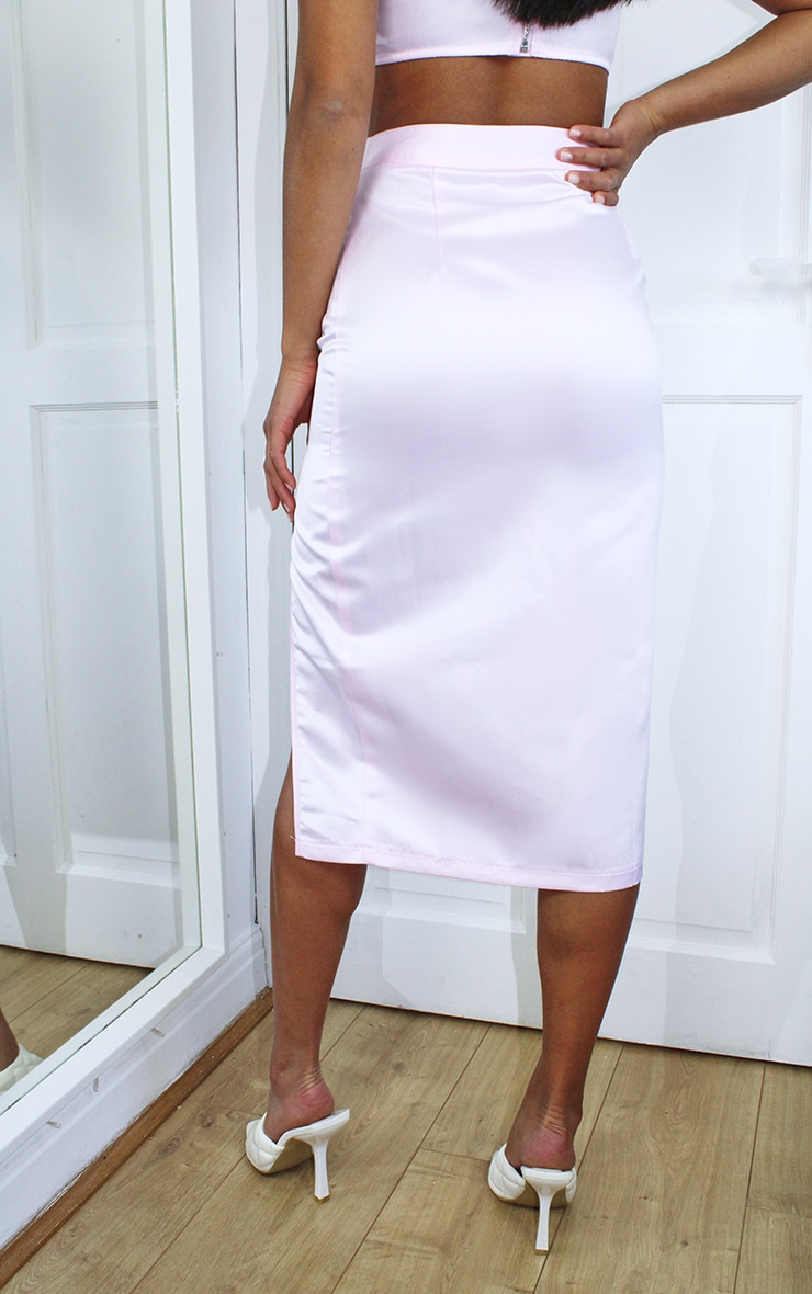 Petite Pink Split Midi Skirt 3