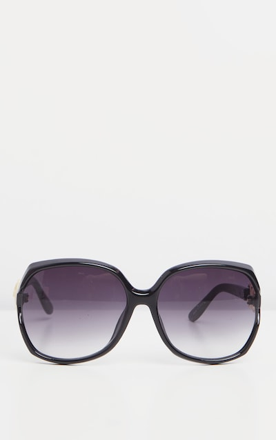 Black Oversized Gold Link Detail Tinted Sunglasses