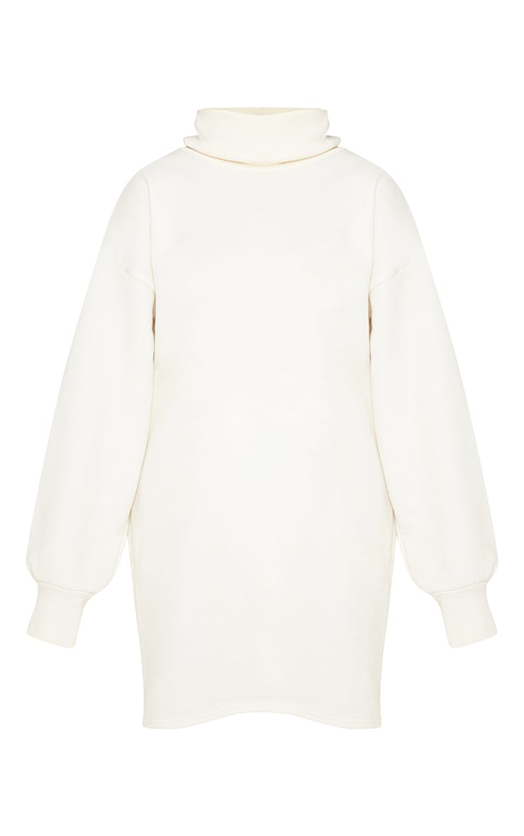 Cream Oversized Sweat Roll Neck Jumper Dress 3