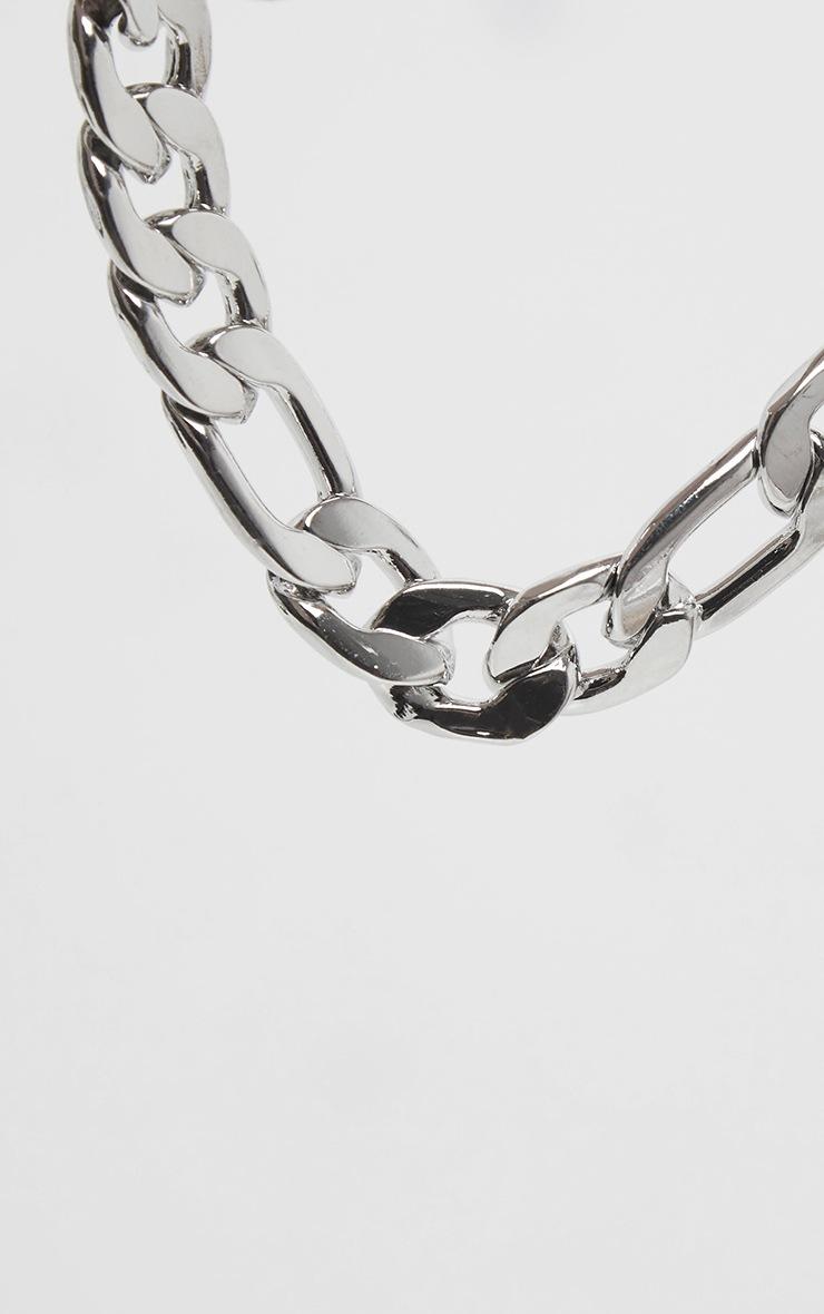 Silver Chunky Flat Link Chain Bracelet 3