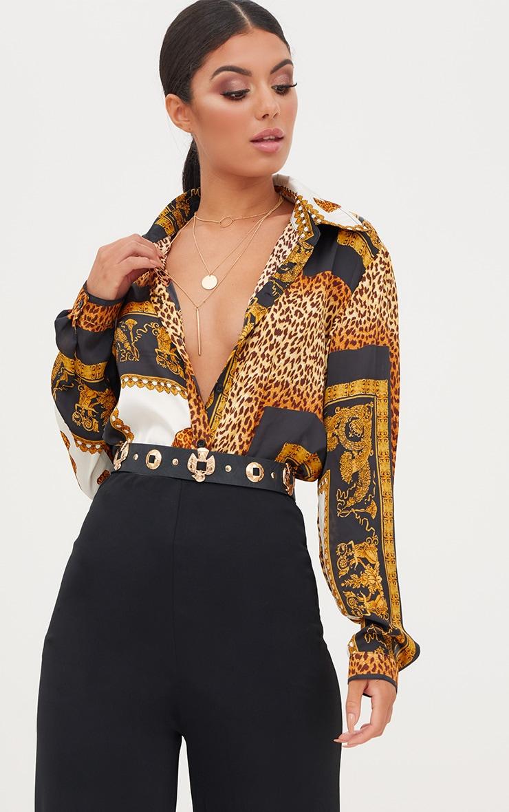 Black Leopard Print Satin Oversized Shirt 2
