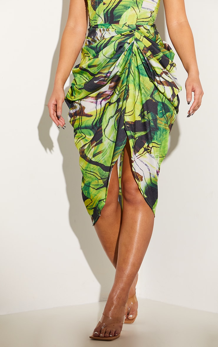Green Abstract Swirl Ruched Side Midi Skirt 2