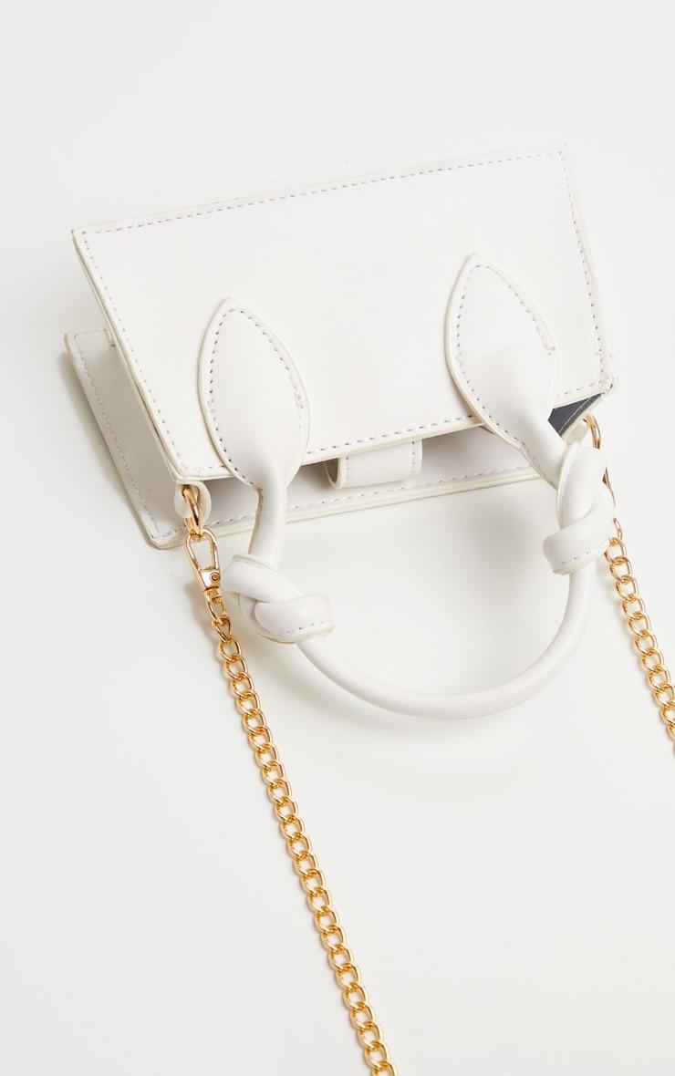 White PU Knotted Single Handle Cross Body Bag 3