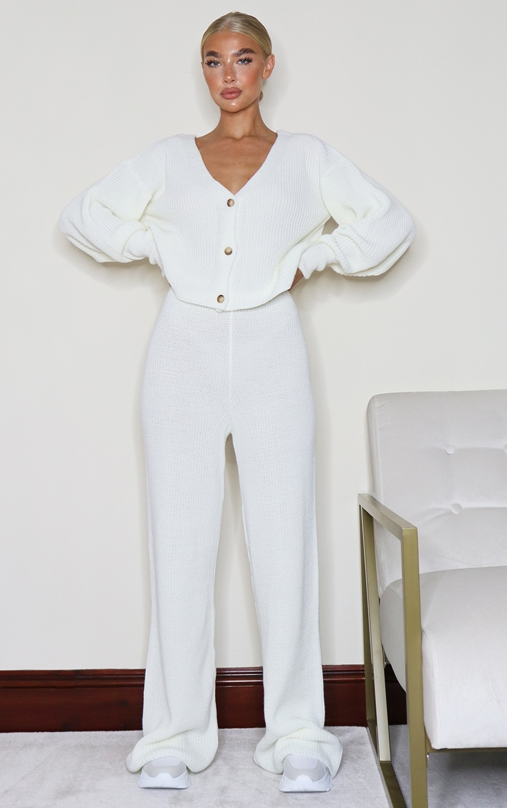 Cream Wide Leg Ribbed Knitted Pants 4