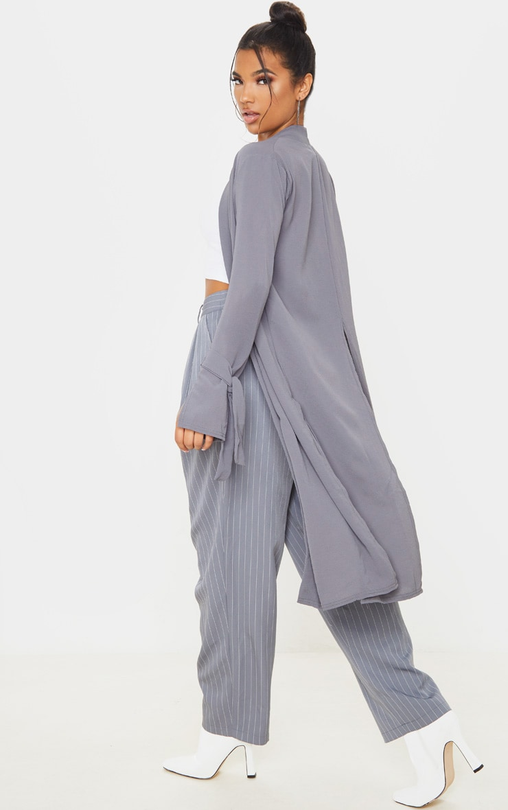 Aba Grey Sleeve Tie Detail Duster Jacket 2