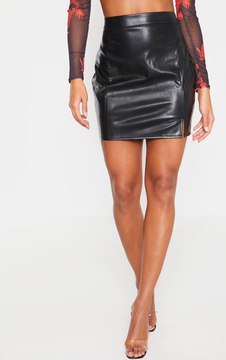 Black Faux Leather Split Mini Skirt 2