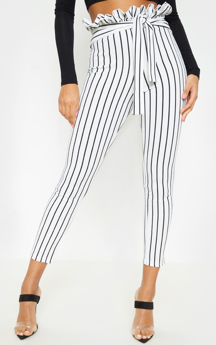 White Pinstripe Paperbag Skinny Trousers  2
