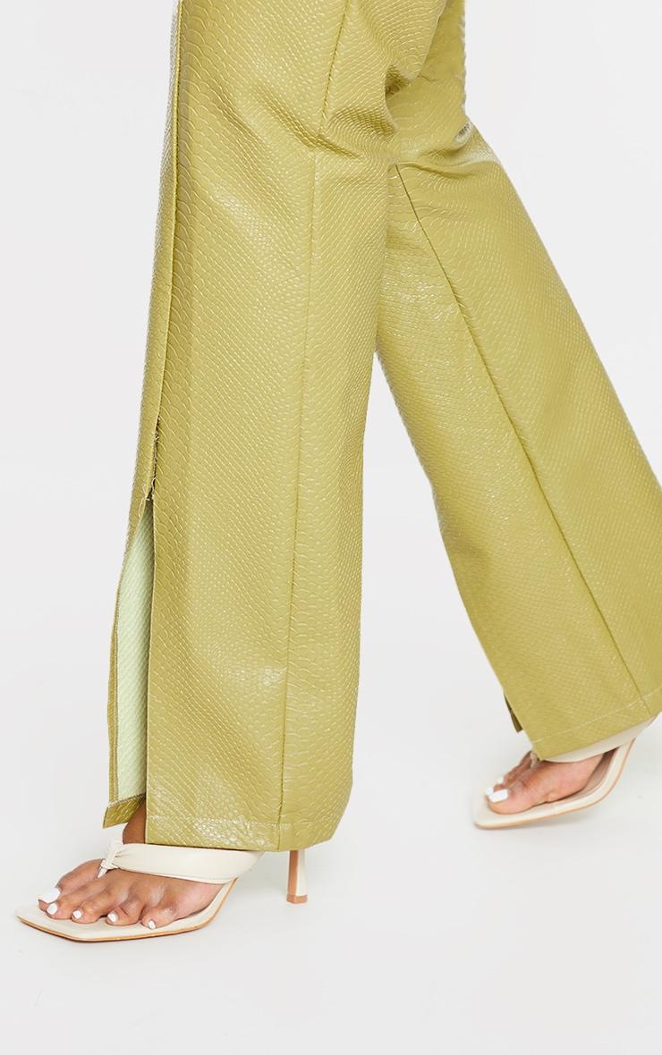 Plus Olive Premium Faux Leather Croc Split Hem Pants 4