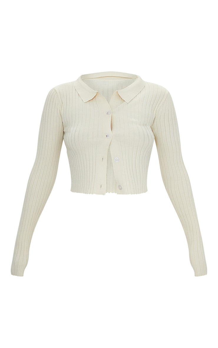Cream Ribbed Collared Button Up Knitted Cardigan 5