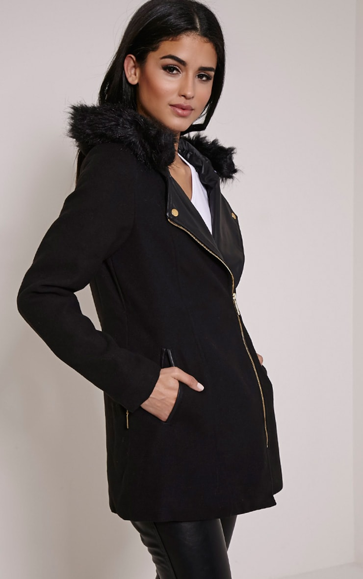 Lacey Black Faux Fur Collar Wool Biker Jacket 4