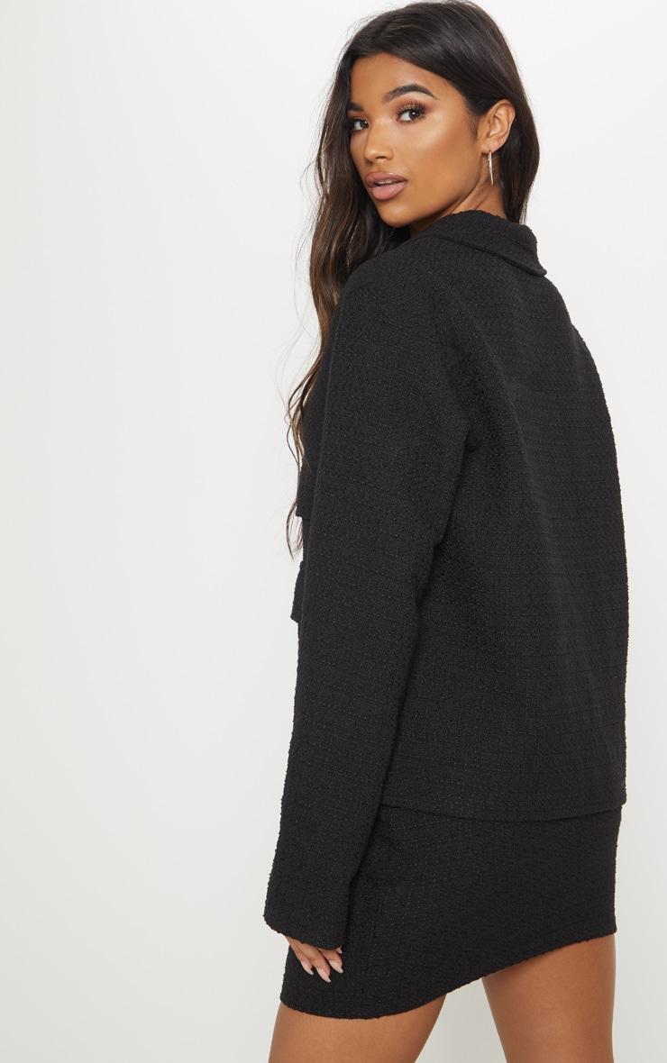 Black Boucle Boxy Jacket  2