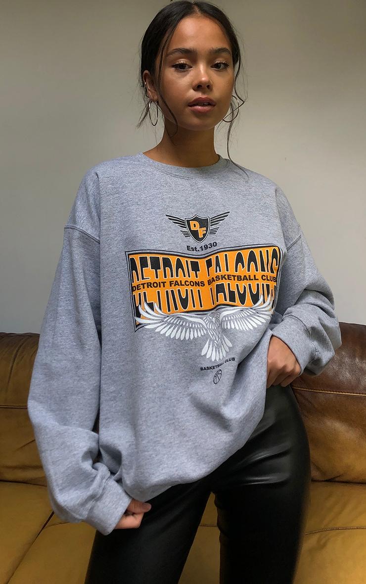 Grey Detroit Falcons Slogan Printed Sweatshirt 4