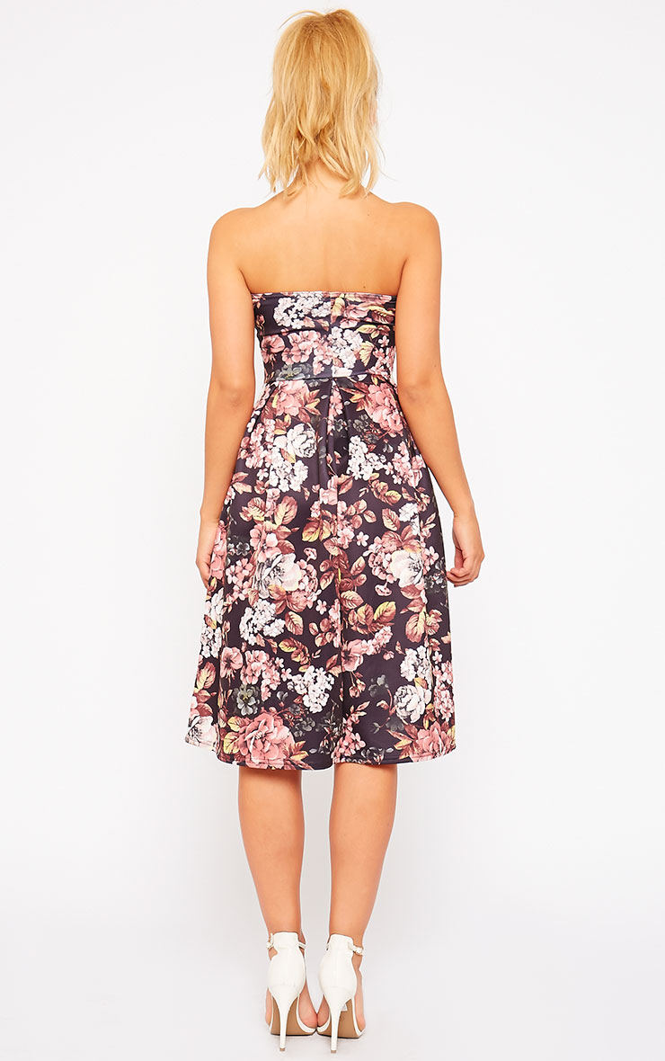 Dacia Black Floral Bandeau Skater Dress 2