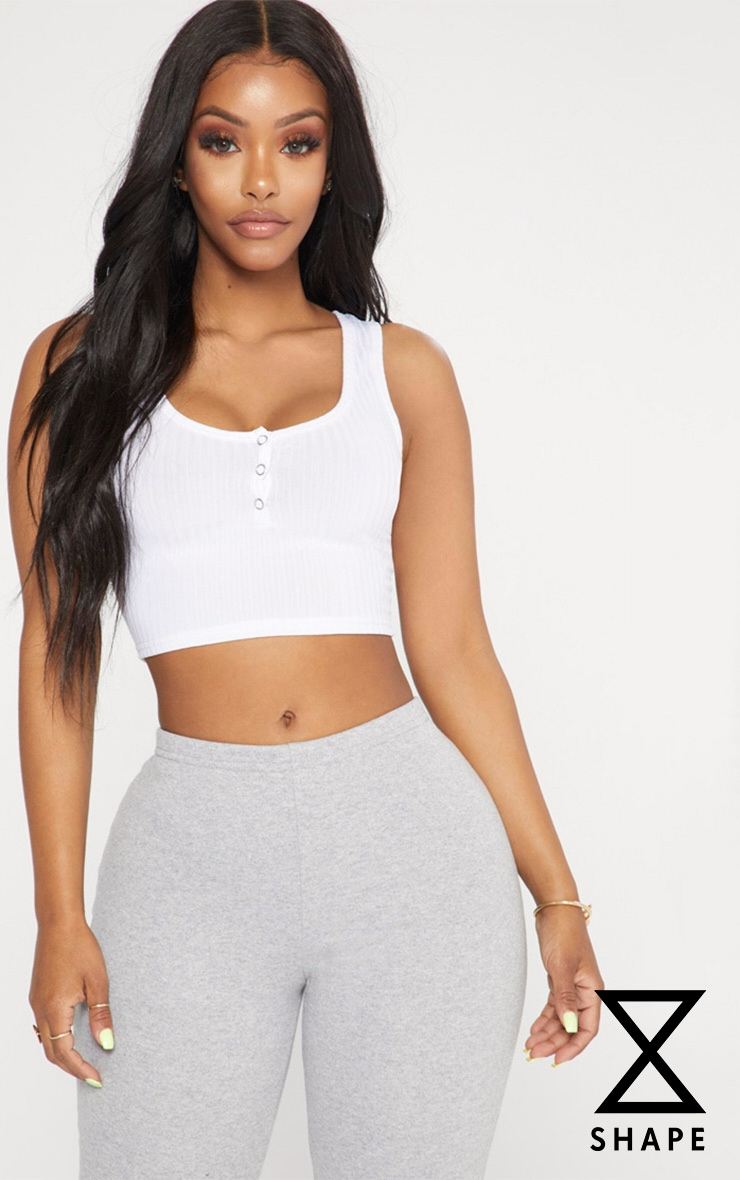 Shape White Popper Detail Crop Top 1
