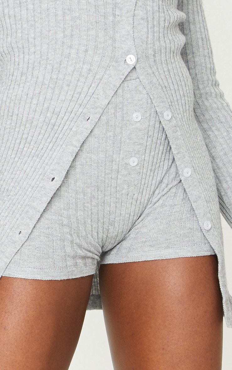 Grey Knitted Ribbed Button Cycling Short 5