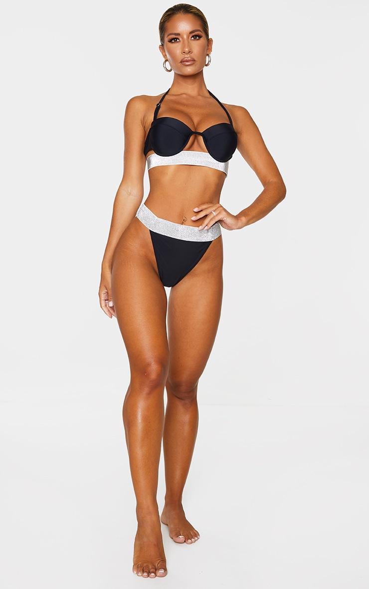 Black Push Up Cupped Glitter Hem Bikini Top 3